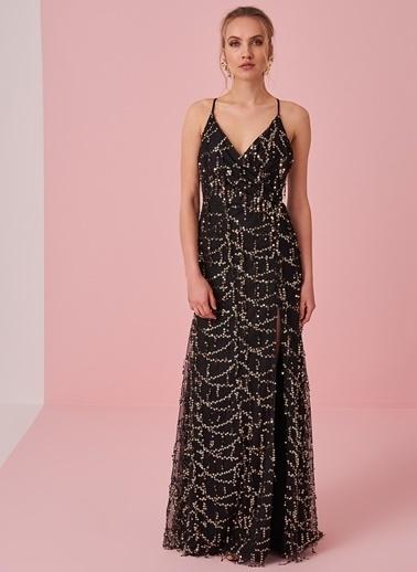 morhipo x dcey Payet Detaylı Yırtmaçlı Elbise Siyah
